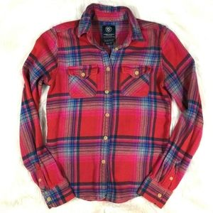 American Eagle Plaid Flannel Button Front Shirt